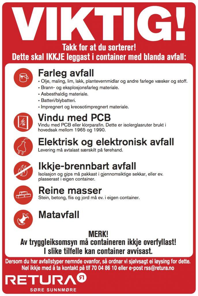 Info om avfall som ikkje skal i container